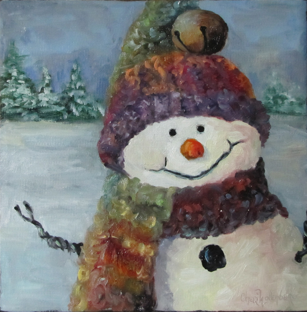 dancing brush art by cheri wollenberg snowman i
