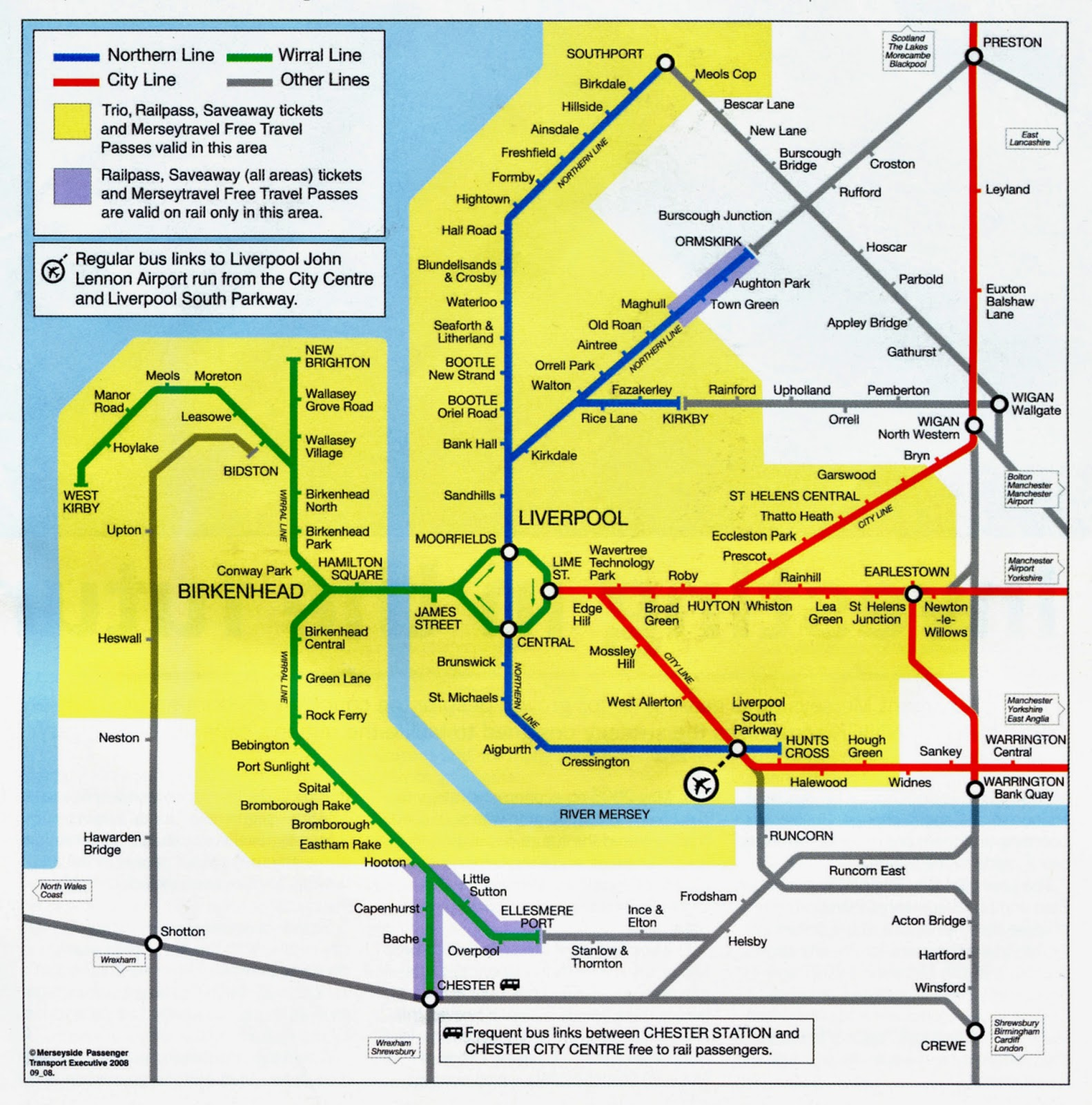 Map of Merseyrail lines in Liverpool UK