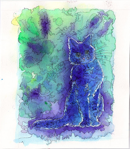 Cat Watercolor, pen and ink