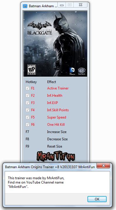 Batman Arkham Origins Trainer +8 V20131107 MrAntiFun