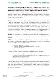 PROCEDIMIENTO PARA ORGANIZAR EL TRABAJO DE LOS EMPLEADOS PÚBLICOS DE LA CONSEJERÍA EN APLICACIÓN DE