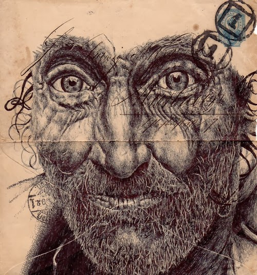 14-Portraits-on-Envelopes-Documents-or-Sheets-of-Music-British-Artist-Mark-Powel-www-designstack-co