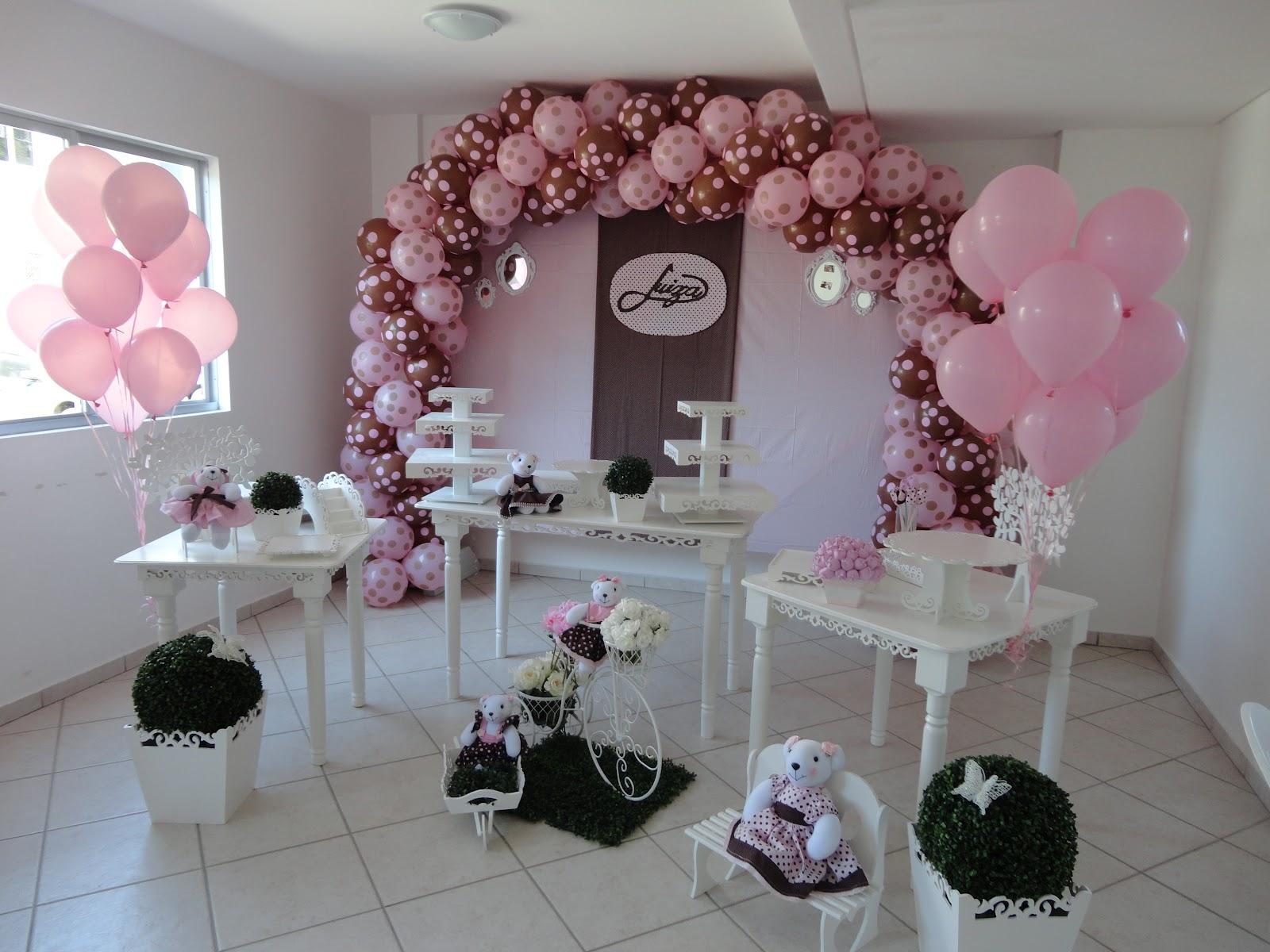 Arco de balão póa marrom e rosa