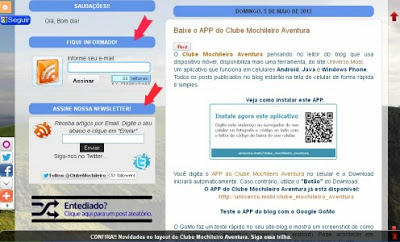 Caixa de assinante feed e Newsletters