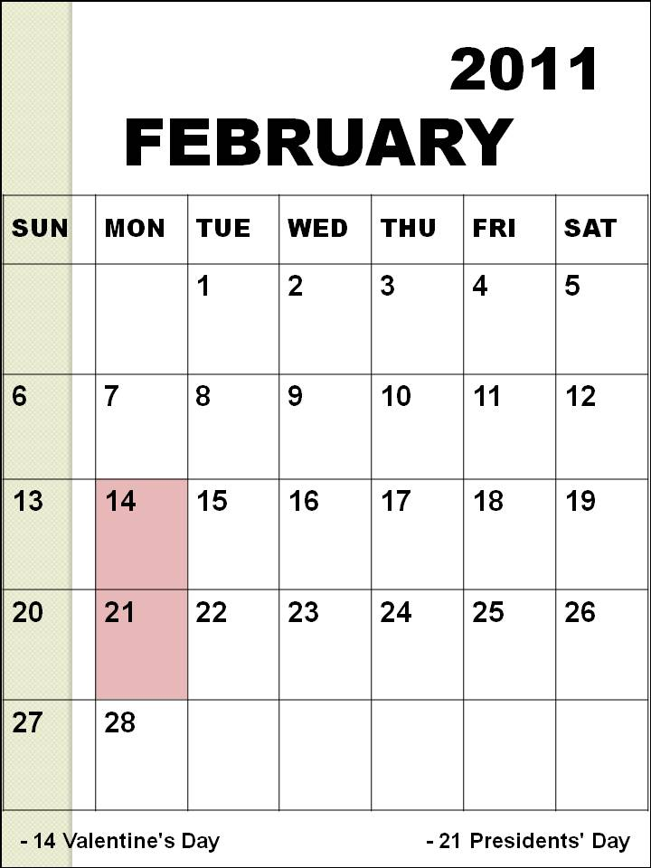 Holidays in February, 2011: February 2011 Calendar. The month of February