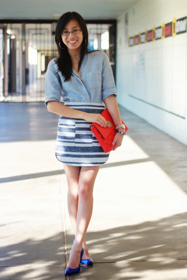 striped mini skirt chambray outfit how to wear for fall