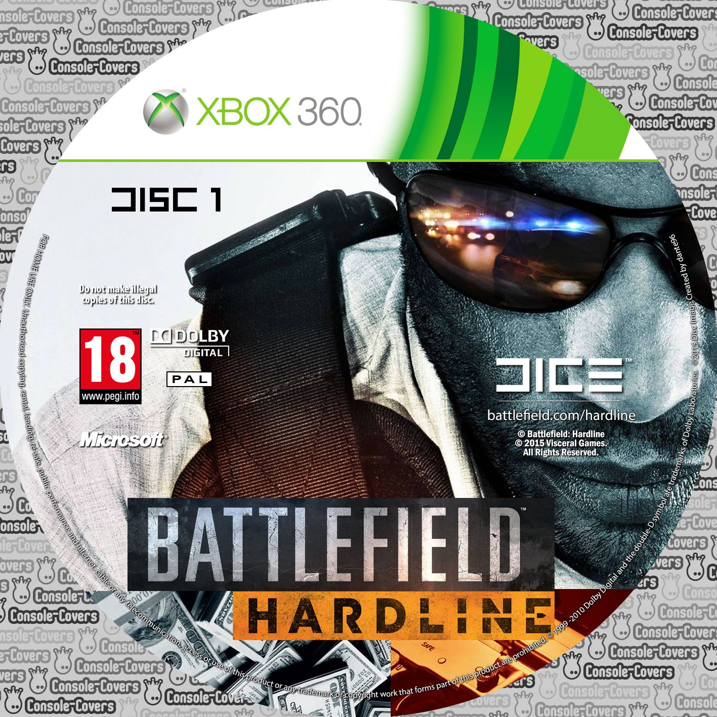 Label Battlefield Hardline Disc 1 Xbox 360