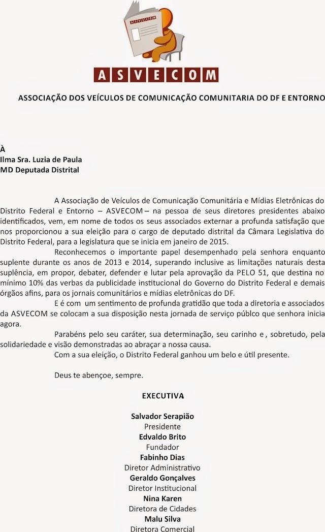 Parabéns Deputada Luzia de Paula. O Sonho continua.