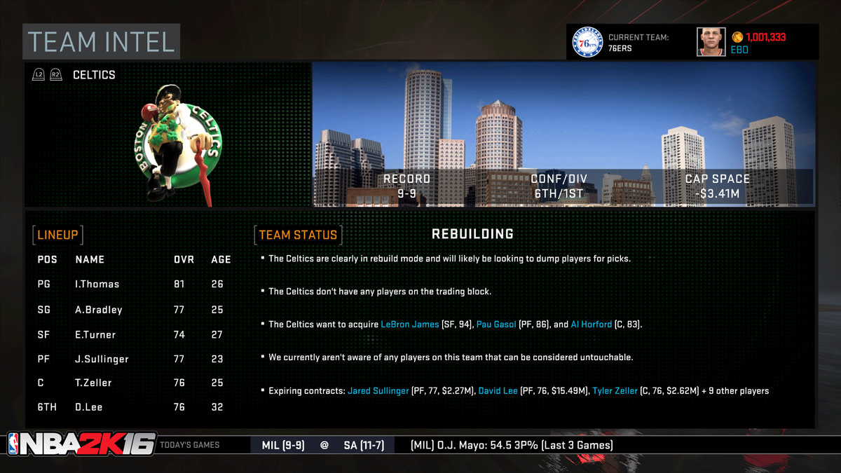 NBA 2k16 MyGM, MyLeague Modes : Team Intel