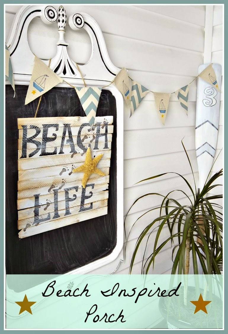 Vintage Paint and More shared her Beach Inspired Porch featured at One More Time Events.com