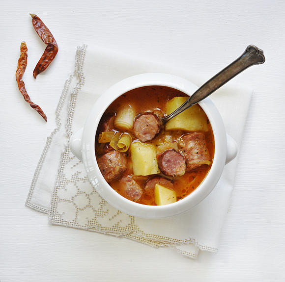 Soup with sausages