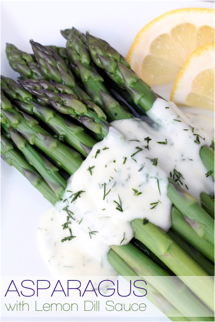 Asparagus with Lemon Dill Sauce - a delicious healthy side dish!