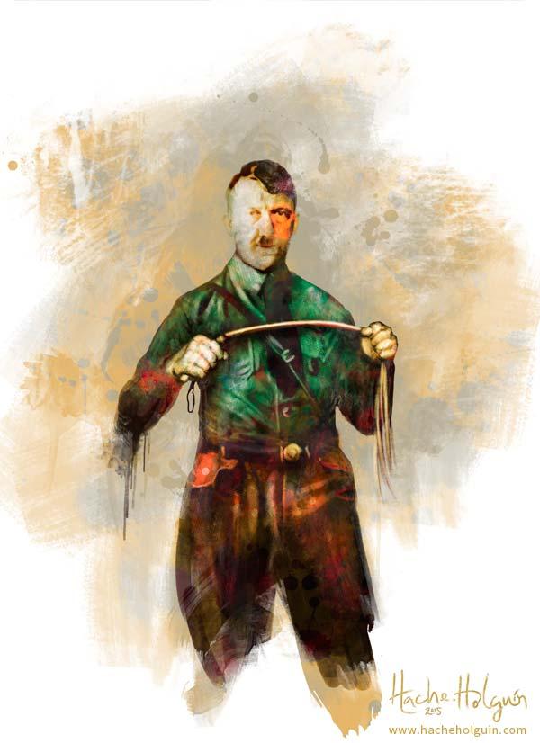 Ilustración de Hitler, para el libro la fusta de Hitler