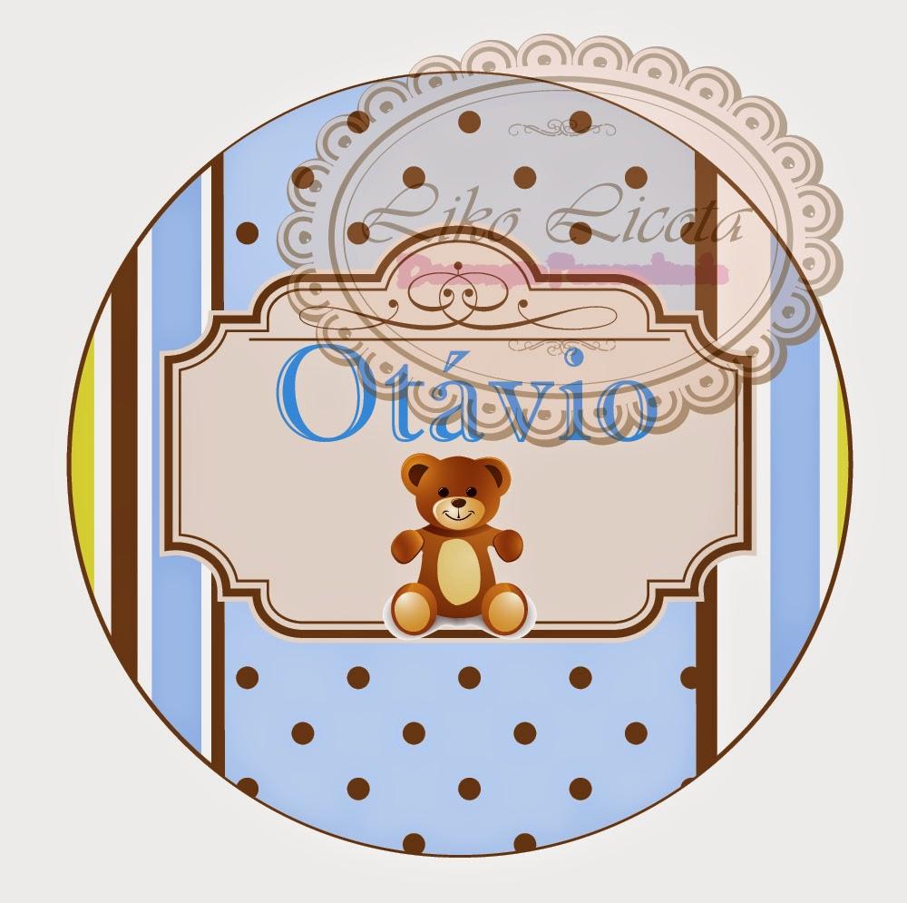 rótulo personalizado ursinho azul, amarelo e marrom