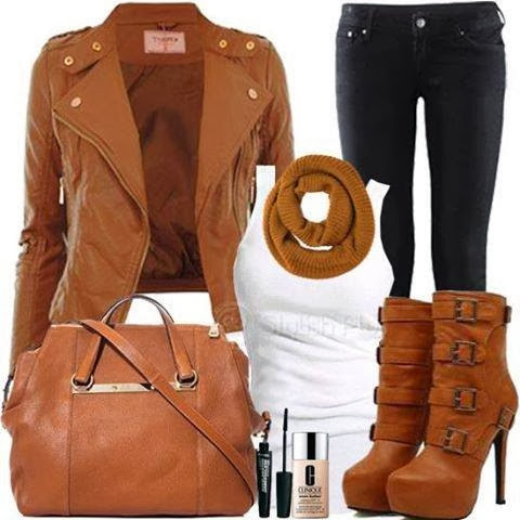 Adorable brown jacket, white blouse, black pants, high heel warm boots and handbag for falla