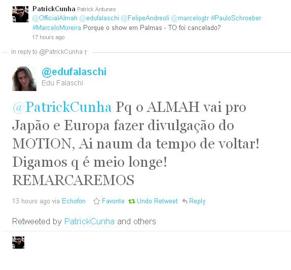 Edu Falaschi esclarece o cancelamento do show que teria com o Almah em Palmas - TO