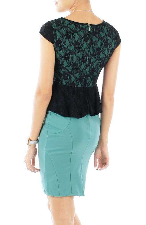 Persian Green Black Love Peplum PETITE Dress