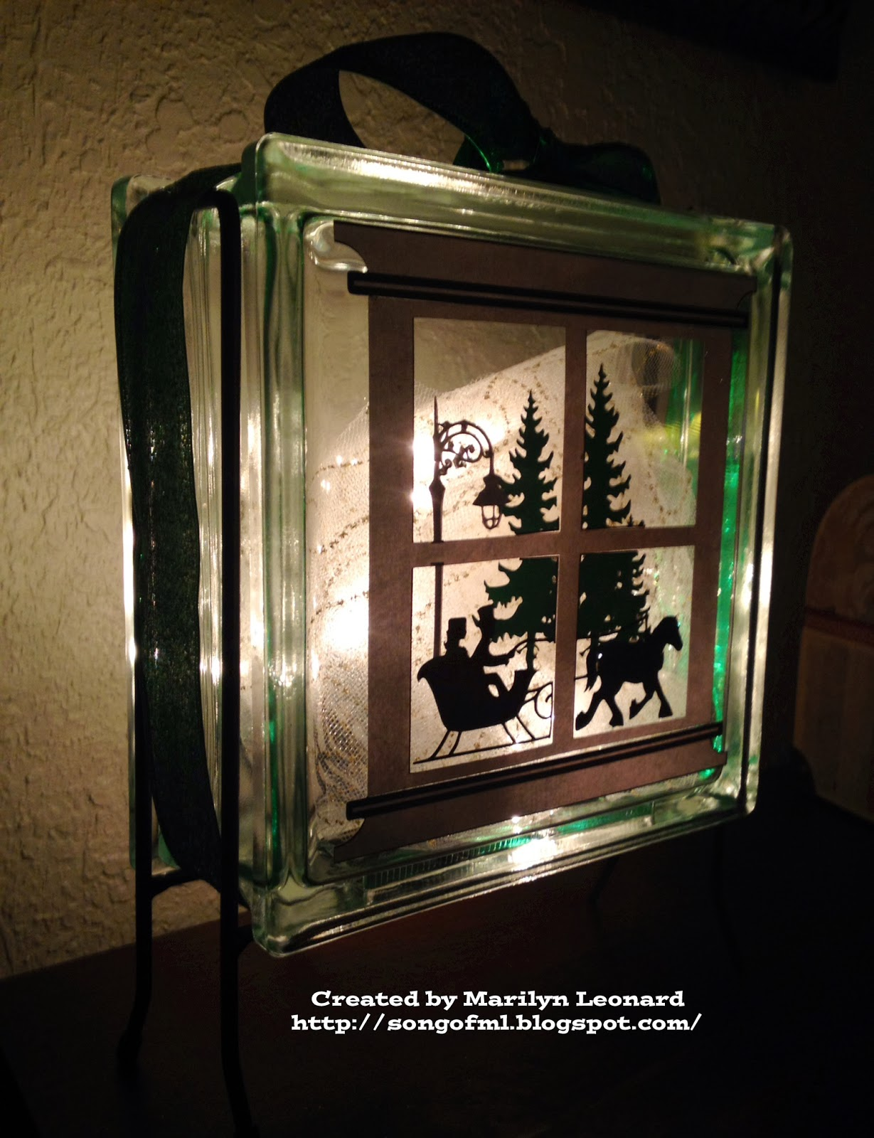 String Lights For Glass Blocks : ~ Marilyn s Crafts ~: Glass Block - Sleigh Ride