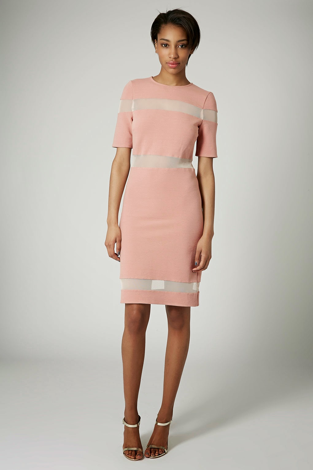 peach panel dress, sheer panel dress,