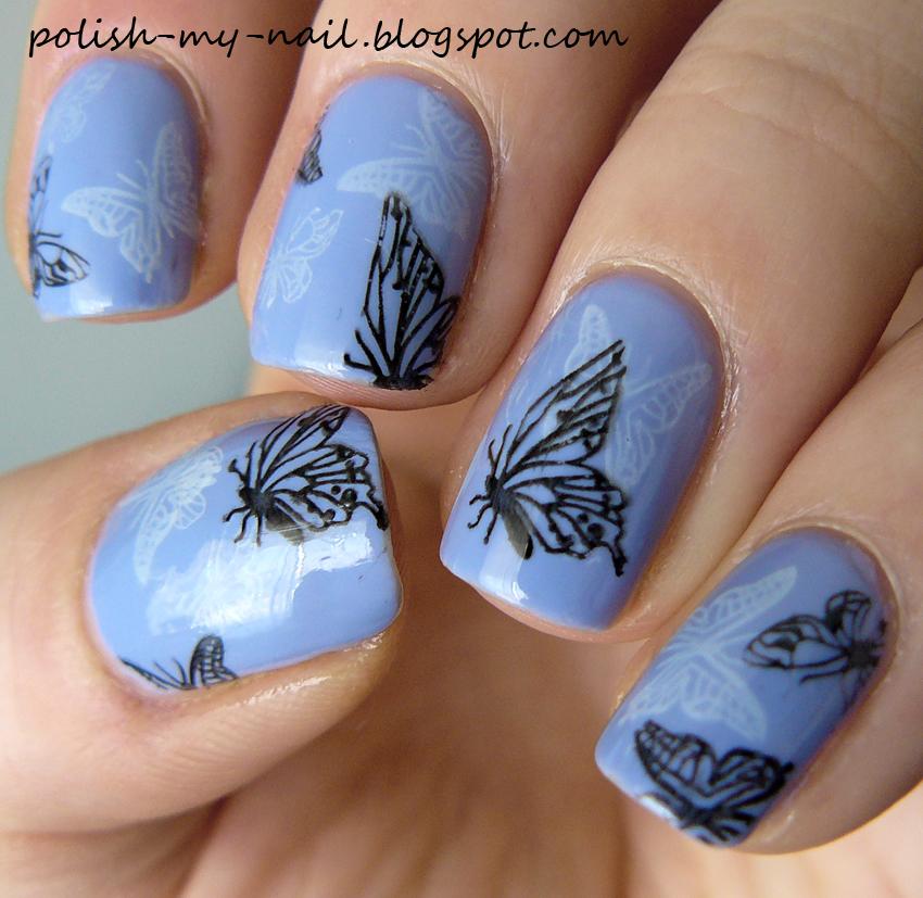 Butterfly Stamping Nail Art : Polish my nail dzikie wyzwania motyl wild challenge butterfly