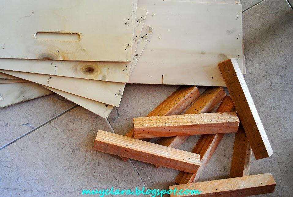 Tablillas recicladas de cajas de frutas coste cero euros - Muebles hechos con materiales reciclados ...