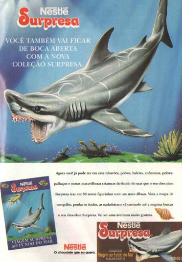 Chocolate Surpresa, da Nestlé. Série com animais estampados em cartões.