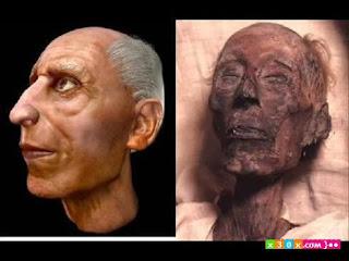 صورة تقريبية لوجه فرعون في حياته .. انظر الى عظمة حكمة الله كيف حافظ على جسده ليكون عبرة لغيره
