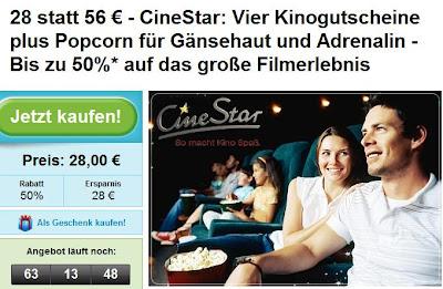 Groupon: 4 CineStar-Kinogutscheine plus Popcorn für 28 Euro statt 56 Euro
