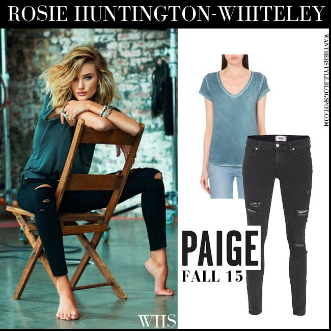 Rosie Huntington-Whiteley in grey tee and black skinny jeans Paige Denim Fall 2015 Ad Campaign