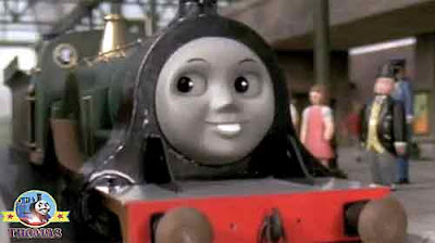 Island of Sodor Thomas train meet shinny emerald green Emily the tank engine said the Fat Controller
