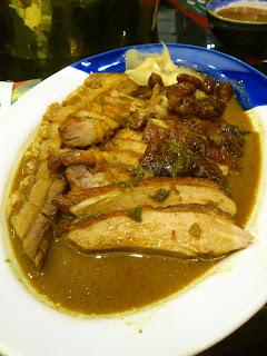 Duck char siew crispy roasted pork belly