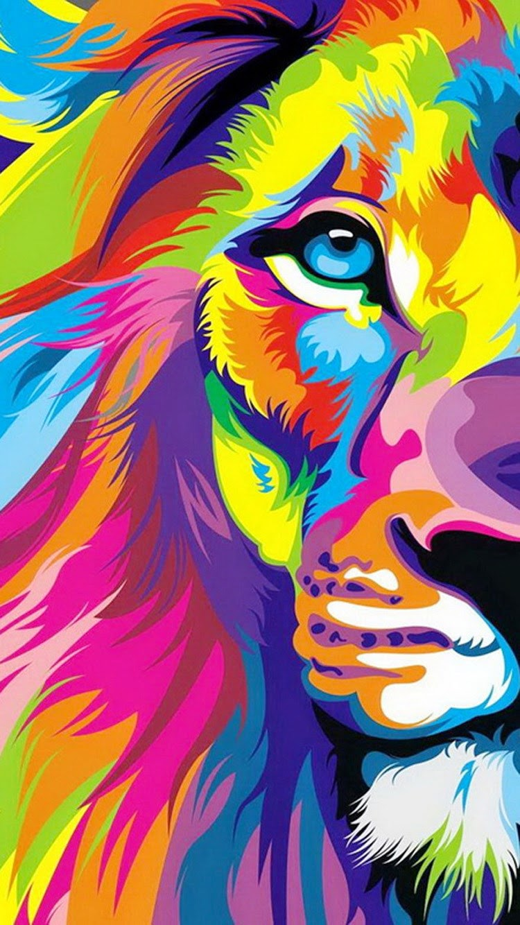 iPhone 6 colorful lion