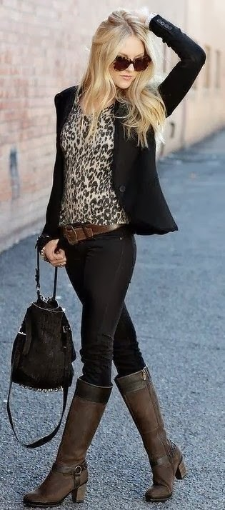 black pants and coat with long boot and leopard shirt