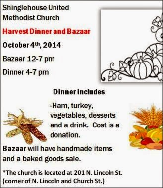10-4 Harvest Dinner & Bazaar, Shinglehouse