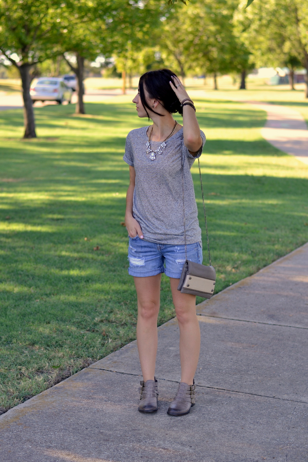 Buckle booties, Nordstrom, Basic Tee, Boyfriend Shorts