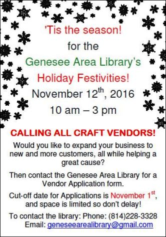 11-12 Genesee Library's Holiday Festivities