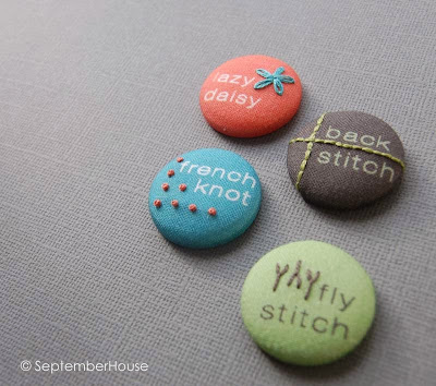 Modern Hand Embroidery Sampler Stitch Buttons by SeptemberHouse
