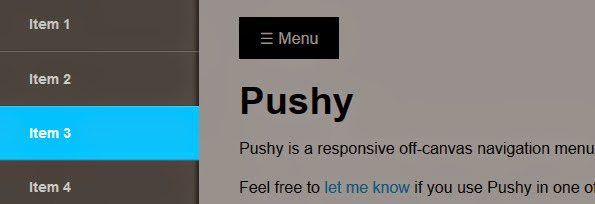 Pushy off canvas responsive navigation menu