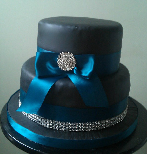 Jos Cakes W065 Black And Teal Two Tier Wedding Cake With Sparkly