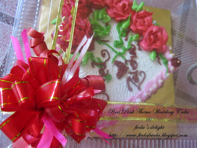wedding cake red pink