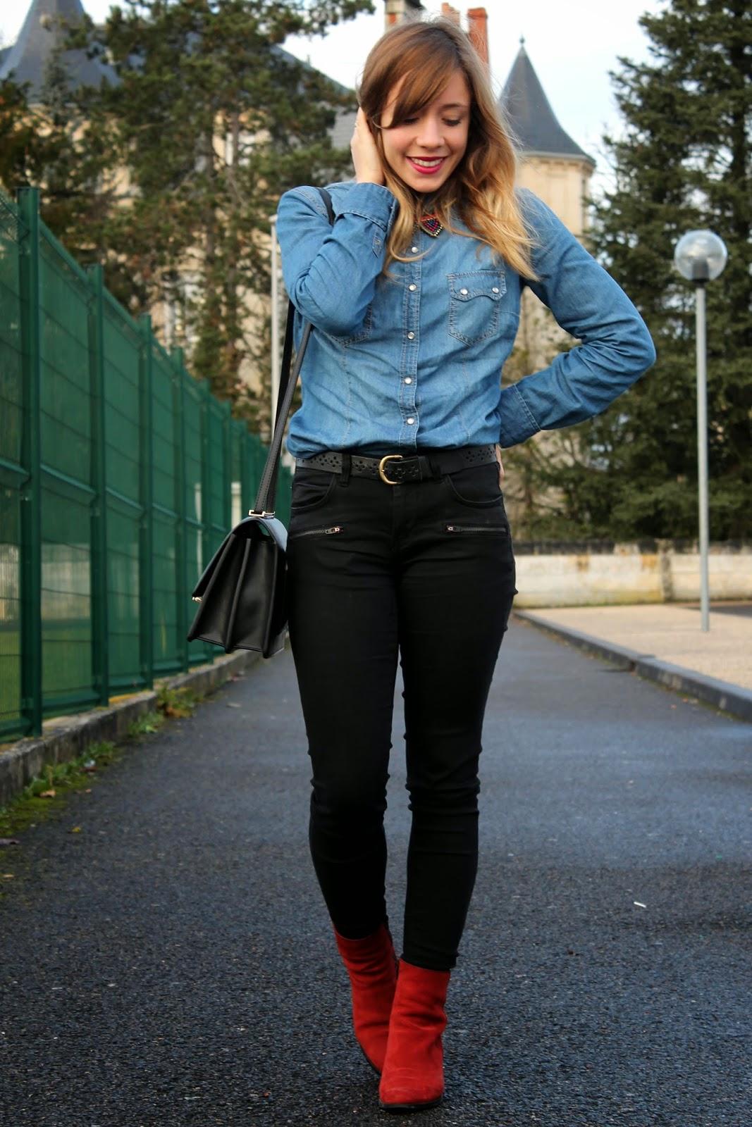 Tenue chemise en jean
