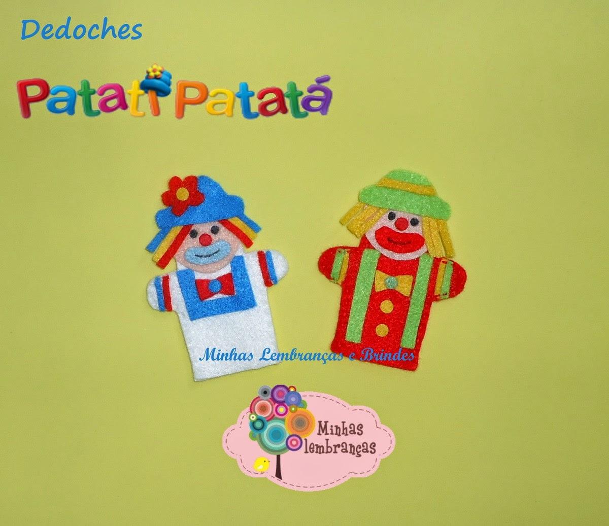 patati patatá-palhaços-feltro-dedoches-lembrancinha-brindes-festa-infantil