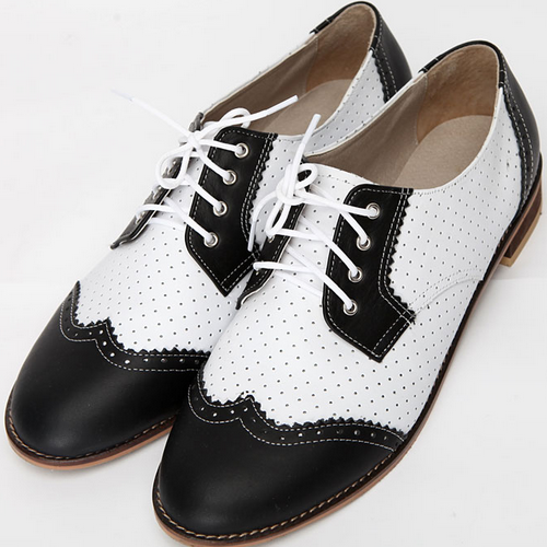 Genuine Leather Contrast Oxfords