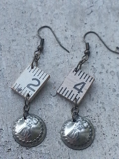 assemblage earrings with vintage domed charm and vintage ruler