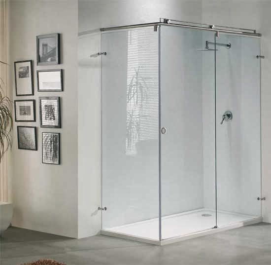 Baño Pequeno Mampara: Aluminio Tres: Mamparas de baño fijas, de esquina, en ele o frontales