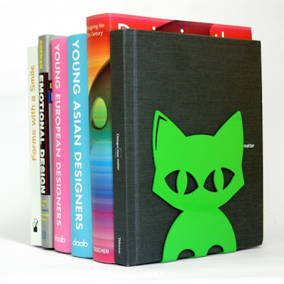 cat bookends, green