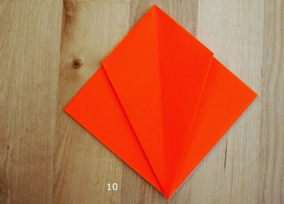 step 10 of how to fold an origami pumpkin for Halloween