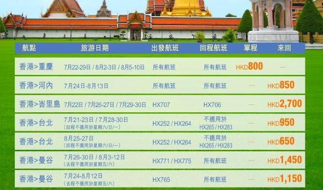 香港航空「話飛就飛」 河內 $850起、 峇里 $2700 、 台北 $650、 曼谷 $1,150起,今晚(7月15日)零晨12點開賣。