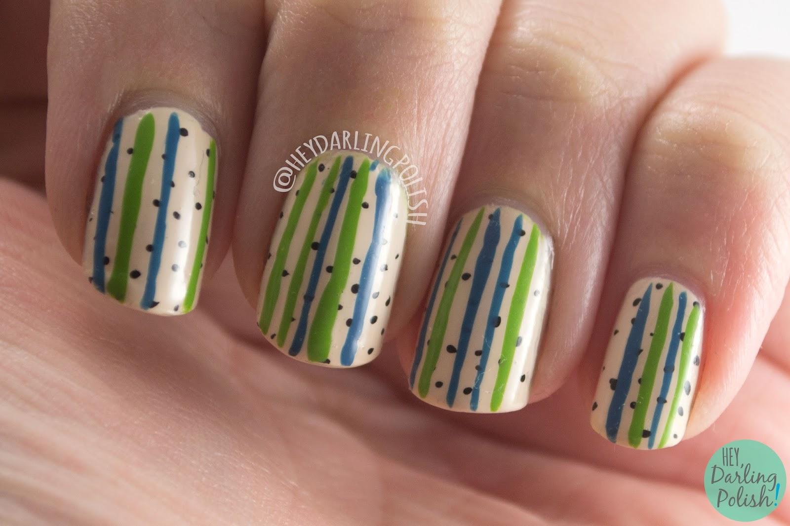 nails, nail art, nail polish, polka dots, stripes, zoya, hey darling polish,