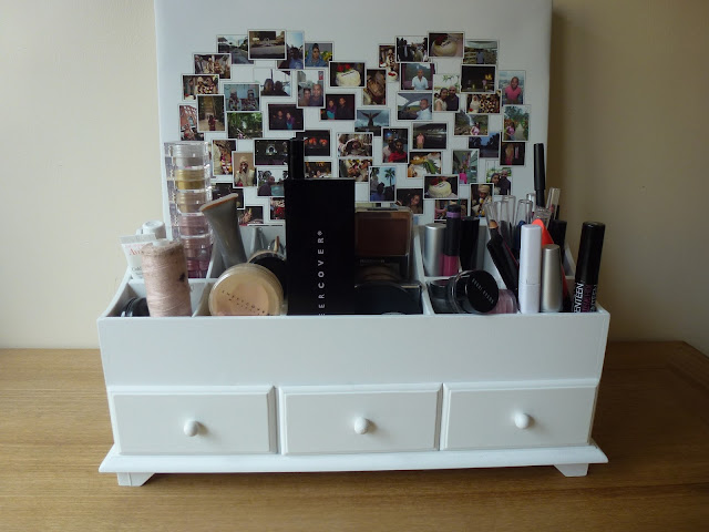 White wooden makeup storage drawers
